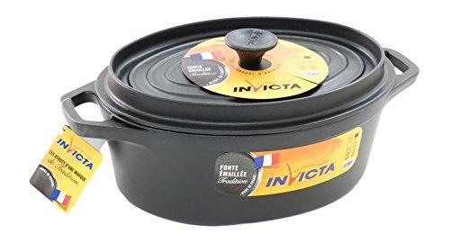 Invicta 303291Gusseisen, schwarz oval Auflaufform 29cm